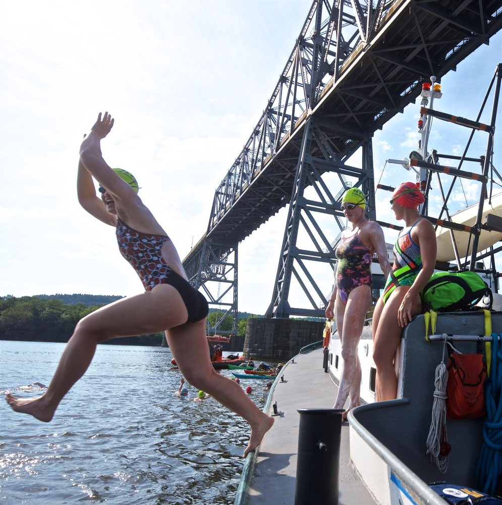 Jumping off of Launch 5 to start 8 Bridges, Stage 1: The Islands, an 18.3 mile swim down the Hudson from the Rip Van Winkle Bridge to the Kingston Rhinecliff Bridge.