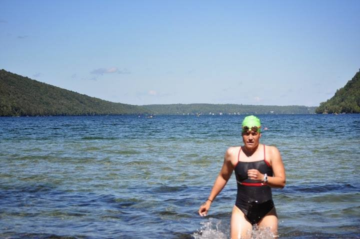 Finishing the Willoughby 5-mile swim in Vermont.
