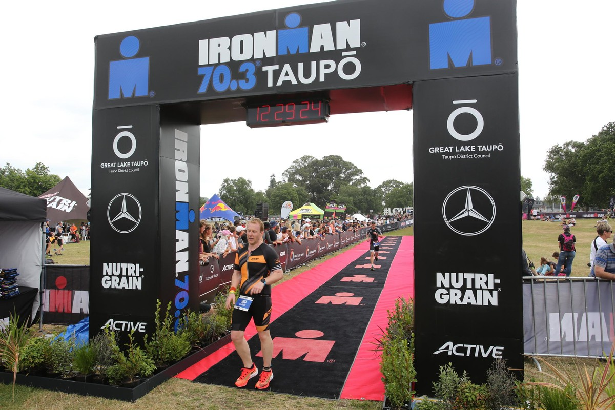 Finish line Ironman Taupo 70.3 in December 2019