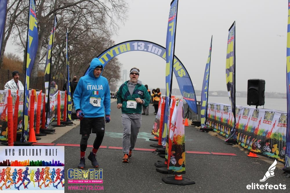 NYC Holiday Half Marathon, December 1 2019. Crossing Finish.